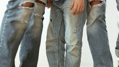 Mom, dad and son young modern family  wear in ripped jeans photo session Stock Footage