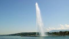 Fountaine in Genéve - Jet d'eau Stock Footage