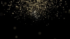 Golden glowing star particle background Stock Footage