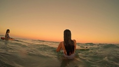 Attractive Surfer Girl At Sundown, Surfing Appreciating View In Slow Motion Stock Footage