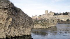 View of the city of Zamora in Spain from the banks of the river Douro Stock Footage