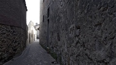 Narrow alley in the historic center of the medieval city of Zamora, Spain Stock Footage