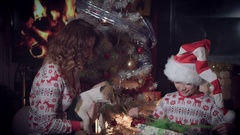 4k Christmas and New Year Holiday Family, Child Opening Present Arkistovideo
