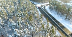 4K Aerial winter view of ringroad in Latvia, Ulbroka. Stock Footage