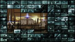 3d rendering. Video wall with futuristic ancient city Stock Illustration
