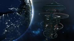 3d rendering. Powerful spacestation with city lighted earth globe Stock Illustration