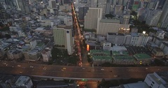 Aerial Drone shot of Silom District in Central Bangkok, Thailand Stock Footage