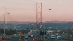 Dusk light over the Forth Road Bridge, Scotland Stock Footage