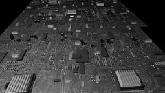 Distorted Circuit Board Flyover Stock Footage