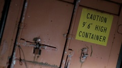 Container with the inscription close-up Stock Footage