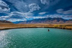 Hot Springs Nevada Ruby Valley Woman enjoying a soak Stock Photos