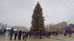 The main city Christmas Tree in the middle of St Sophia Square in Kiev Stock Footage