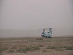 Military chinook helicopter in Afghanistan Stock Footage