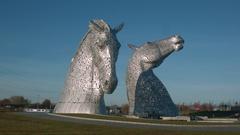 The Kelpies art installation, Falkirk Stock Footage
