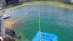 POV of a man riding his wakeboard at a cable park. Stock Footage
