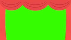 Theater Curtain Open/Close Green Screen Animation:  Loop + Matte Stock Footage