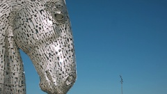The Kelpies head sculptures, Falkirk Stock Footage