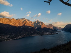 Lake Como swept by the north wind at sunset Stock Footage
