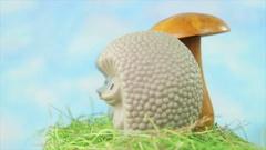 Vintage toys hedgehogs and the mushroom Stock Footage