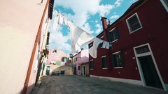 Lovely buildings in Burano Island, Venice Italy Stock Footage