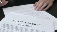 4K Signing a Divorce Decree Document Stock Footage