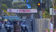 The start and finish line of a 10K race. Stock Footage
