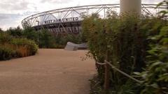 West Ham Stadium / Olympic stadium East London steady cam HD Stock Footage