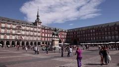 People walking in plaza mayor in madrid spain Stock Footage