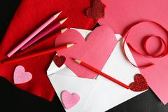 Heart Shaped Valentine's Day Homemade Card in Envelope with Drawing Supplies Stock Photos