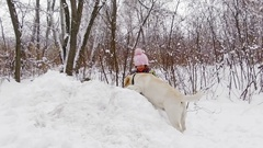 Little girl playing with her pale yellow labrador on snow, slowmotion Stock Footage