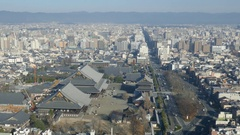 Aerial view of Kyoto downtown cityscape Stock Footage