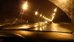 Car Driving On Highway At Night Stock Footage