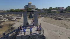 Aerial video of Chersonesos in Sevastopol, Fog bell and Vladimir Cathedral. Stock Footage