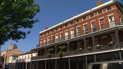 Pan Of New Orleans Architecture in French quarter Stock Footage