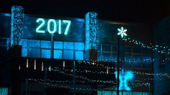 Christmas illumination on a building facade Stock Footage