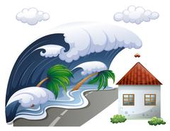 Tsunami scene with big waves and house Piirros