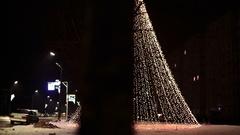 Christmas illuminations at abstract tree Stock Footage