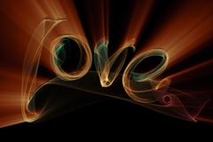 Love isolated word lettering written with fire flame or smoke on black Stock Illustration