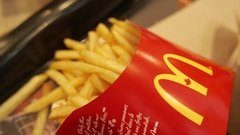 4K Eating Mc Donalds French Fries - Fast Food Restaurant Closeup Stock Footage