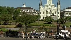 Jackson square French quarter New Orleans Louisiana Stock Footage