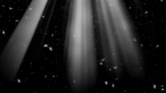 3d animation rays and snow falling from the sky. New Year's background. Stock Footage