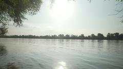 Gimbal slow motion shot at Danube, Dunau at summer and trees Stock Footage