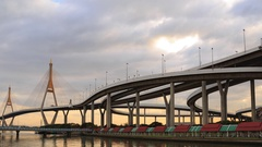 Clouds spread across the sky before sunset at Bhumibol Bridge Stock Footage