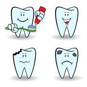 Set of four cartoon teeth Stock Illustration