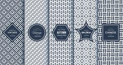 Blue line seamless patterns for universal background Stock Illustration