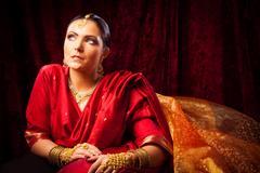 Young Woman Wearing Bollywood-style Sari Kuvituskuvat