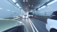 New York City - Driving in a tunnel - rear view - view - 4k Stock Footage