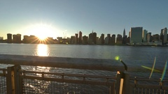 Time lapse of the sun setting on Manhattan mid town Stock Footage