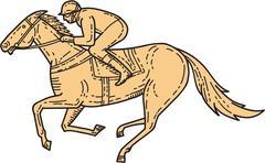 Jockey Horse Racing Side Mono Line Piirros