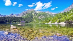 Lake Popradske pleso in High Tatras, Slovakia Stock Footage